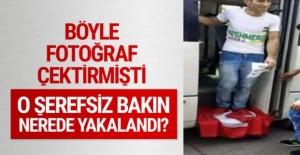 Türk bayrağına basarak fotoğraf çekince...