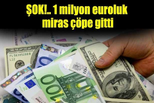 1 milyon euroluk miras çöpe gitti