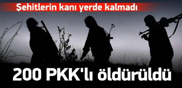5 dalgada 200'e yakın PKK'lı öldürüldü