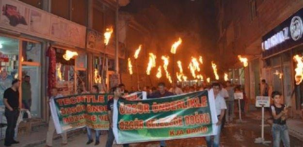 Abdullah Öcalan için meşaleli yürüyüş