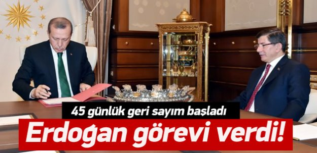 Cumhurbaşkanı görevi Davutoğlu'na verdi