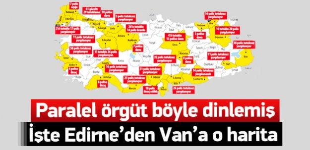 Edirne'den Van'a dinleme haritası
