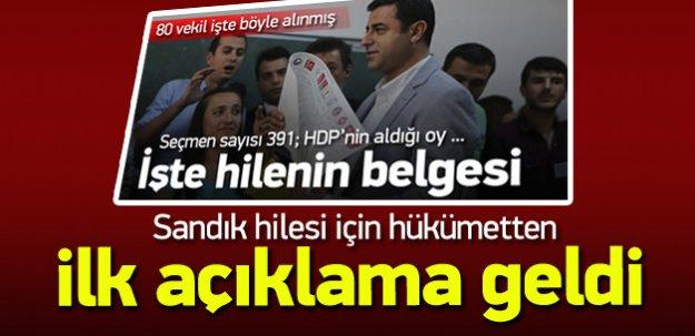 HDP'nin sandık hilesi için hükümetten ilk açıklama