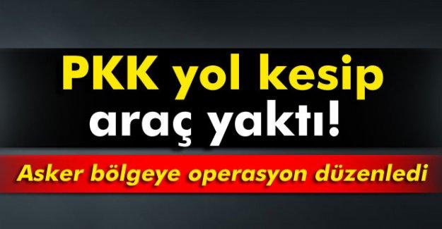 PKK yol kesip, araç yaktı