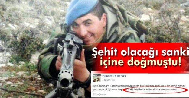 Şehit Onbaşı Yıldırım, sosyal paylaşım hesabından helallik istemiş