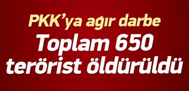 23 Temmuz'dan bu yana 650 terörist öldürüldü
