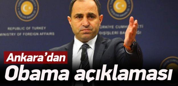 Ankara'dan Obama açıklaması