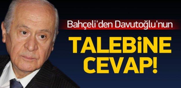 Bahçeli'den Davutoğlu'nun talebine jet cevap