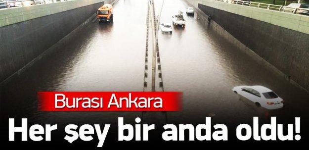Başkentte sağanak yağış hayatı felç etti!