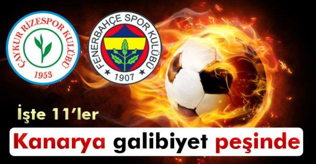 Çaykur Rizespor-Fenerbahçe maçının 11'leri
