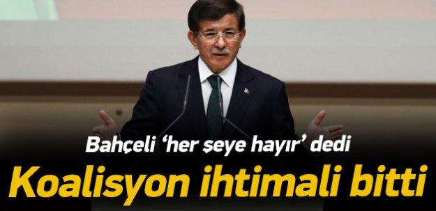 Davutoğlu: Bahçeli koalisyona 'hayır' dedi