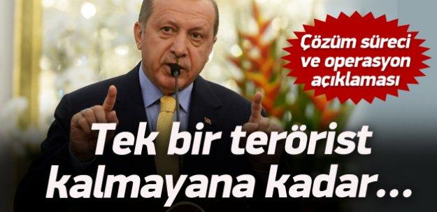 Erdoğan'dan Çözüm süreci ve operasyon açıklaması