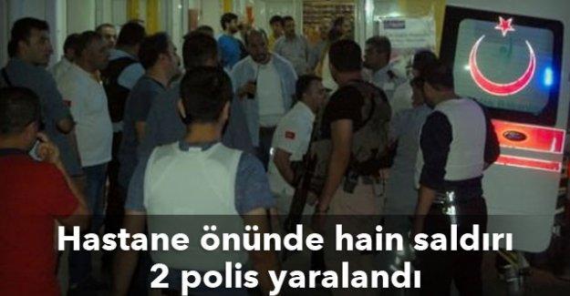 Hastane önünde hain saldırı, 2 polis yaralandı