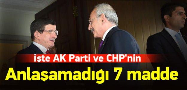 İşte AK Parti ve CHP'nin anlaşamadığı 7 madde