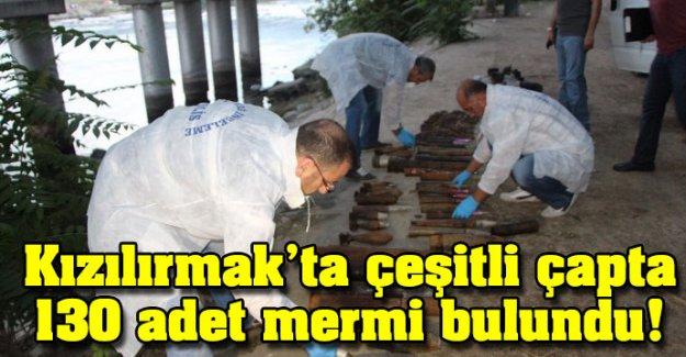 Kızılırmak'ta çeşitli çapta 130 adet mermi bulundu