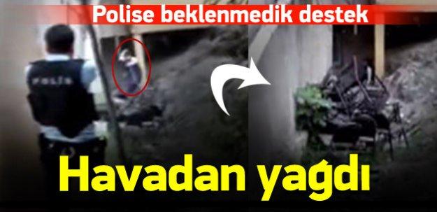 Teröristi sıkıştıran polise havadan destek