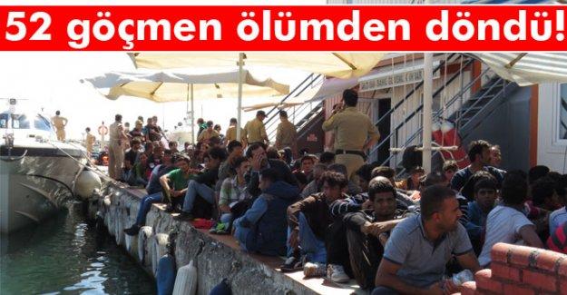 52 kaçak göçmen ölümden döndü