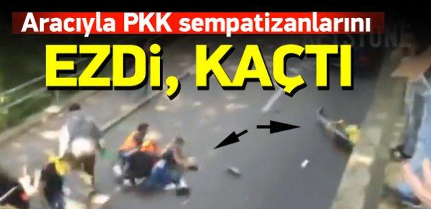 Aracıyla PKK sempatizanlarını ezip kaçtı