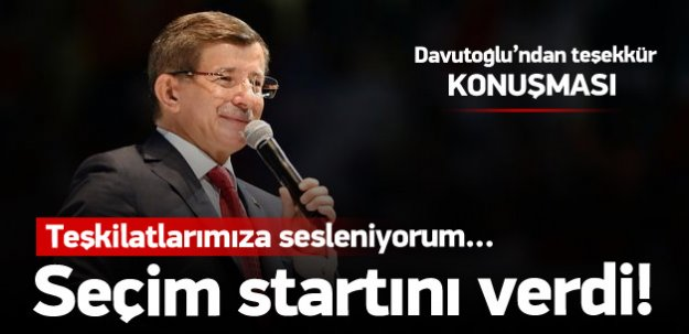 Başbakan Davutoğlu'dan teşekkür konuşması