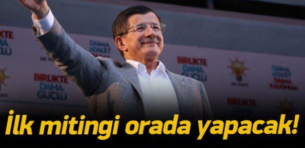 Davutoğlu'nun ilk mitinginin adresi belli oldu