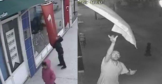 Eskişehir Türk bayrağını koparan şahsı arıyor
