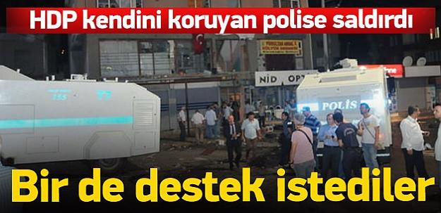 HDP'liler kendilerini koruyan polise saldırdı