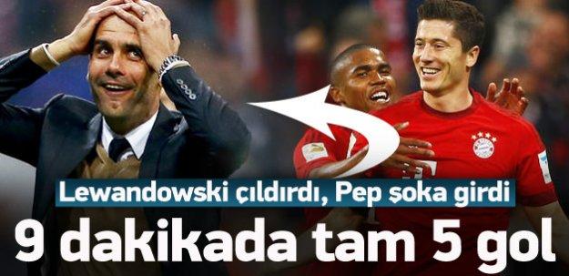 Lewandowski çıldırdı! 9 dakikada 5 gol