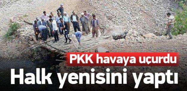 PKK köprüyü yıktı vatandaşlar yenisini yaptı