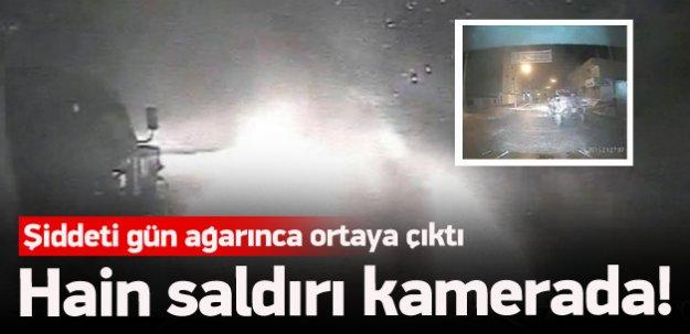 Polis aracına bombalı saldırı anı kamerada