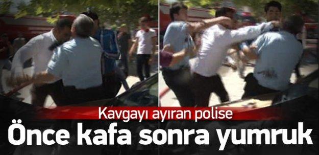 Polise önce kafa attı, ardından yumruk