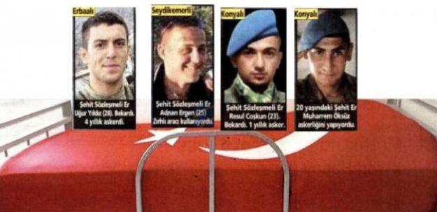 Şehitlerin yataklarına Türk bayrağı örttü
