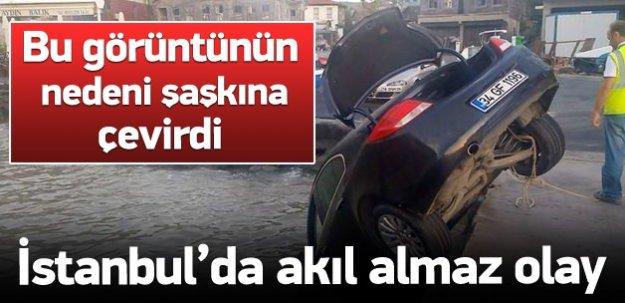 Tartıştığı arkadaşının arabasını denize attı