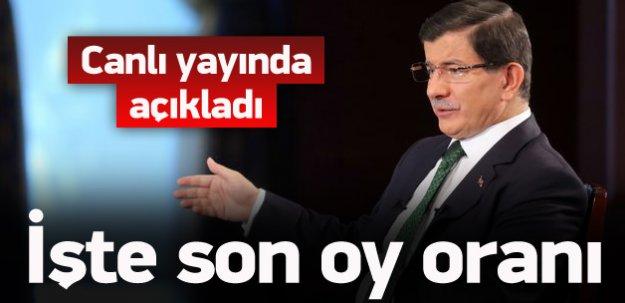 Davutoğlu AK Parti'nin oy oranını açıkladı!