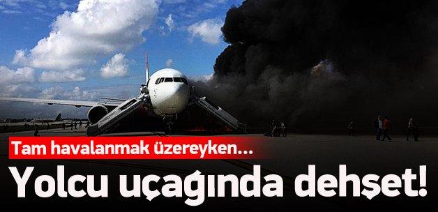 Kalkışa hazırlanan uçak alev aldı! Yaralılar var