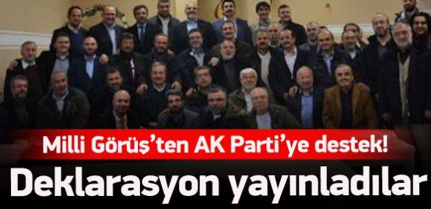 Milli Görüş'ten AK Parti'ye destek