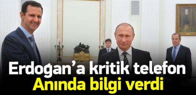 Putin Esed hakkında Erdoğan'la görüştü