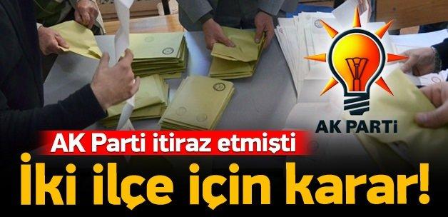 AK Parti'nin itirazı reddedildi!