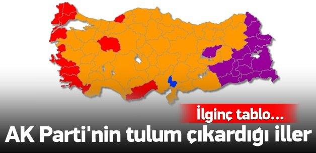 AK Parti'nin tulum çıkardığı iller