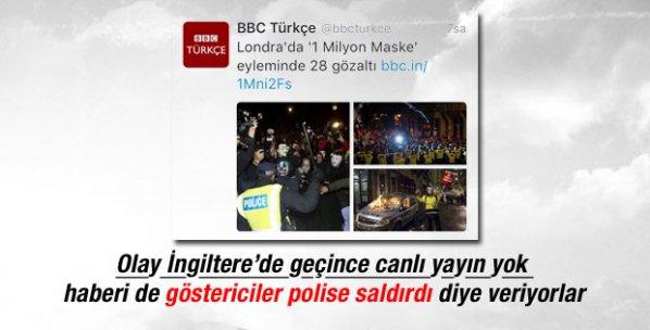 BBC Londra'da 1 Milyon Maske eylemini canlı vermedi