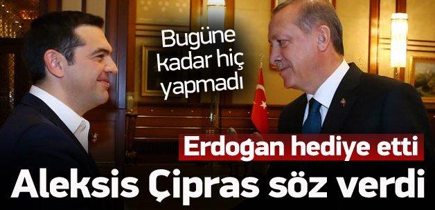 Erdoğan'ın hediyesi sonrası Çipras 'Söz' verdi
