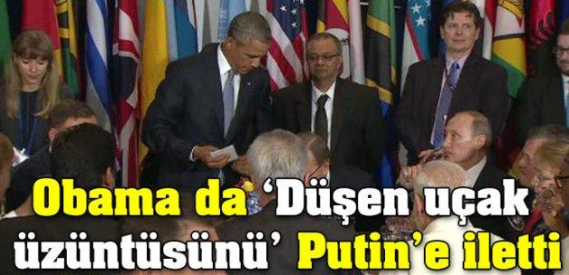 Obama da 'Düşen uçak üzüntüsünü' Putin'e iletti