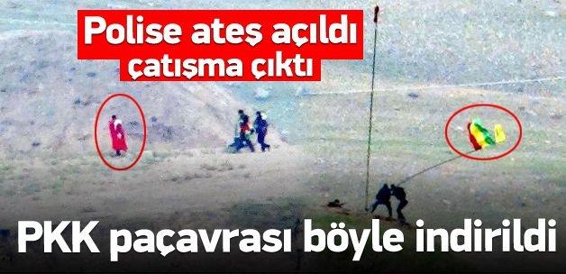 PKK flamasını indiren polise ateş açıldı