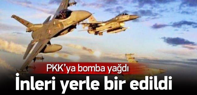 PKK sığınaklarına bomba yağdı