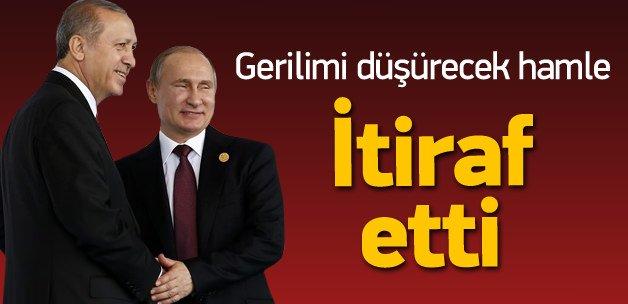 Rusya'dan 3 gün sonra Erdoğan itirafı