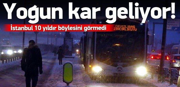 İstanbul'a yoğun kar geliyor