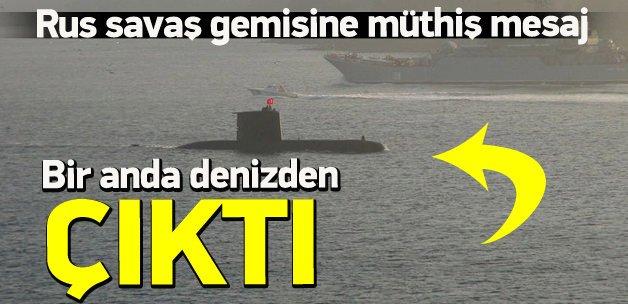 Kriz çıkaran Rus gemisine denizaltılı takip