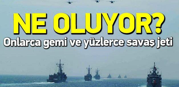 Onlarca gemi ve yüzlerce savaş jeti Akdeniz'de