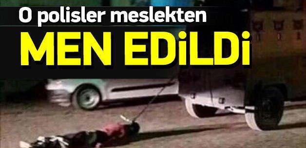 PKK'lı cesedini sürükleyenler meslekten men edildi