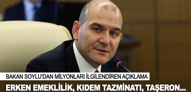 Bakan Soylu'dan erken emeklilik, kıdem tazminatı ve taşeron açıklaması