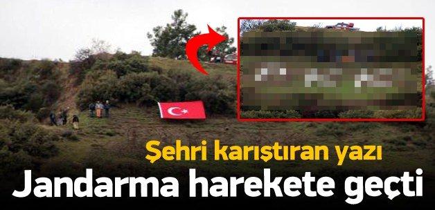 """Dağdaki 'OGM""""' yazısı 'PKK' ile değiştirildi"""